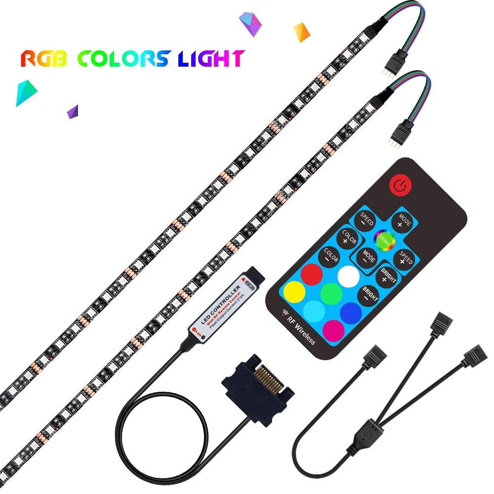 Tira de luces LED DC 12V RGB 5050 para PC carcasa de ordenador SATA rgb cinta 1M 2 M, 17Key RF SATA Led controlador de tira Flexible