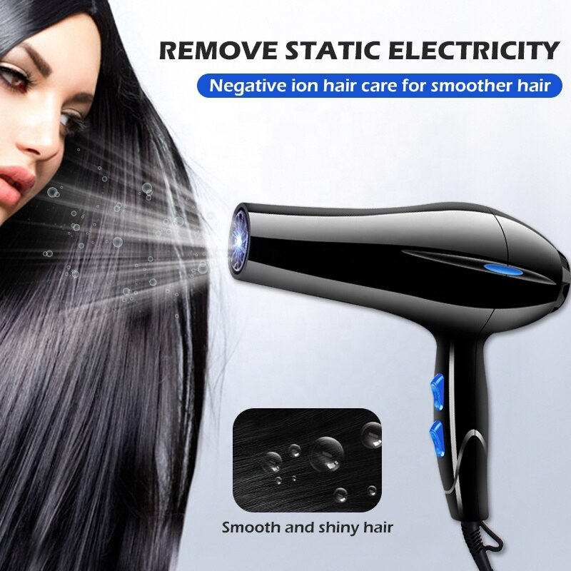 Hair Dryer With Ionic Function Professional Black Strong Power for Hairdressing Barber Salon Tools Hair Blower enlarge