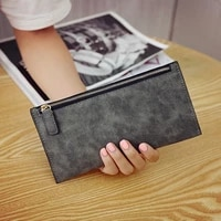 fashion matte pu leather women long wallet ladies casual high quality zipper purse card coin holder vintage female clutch