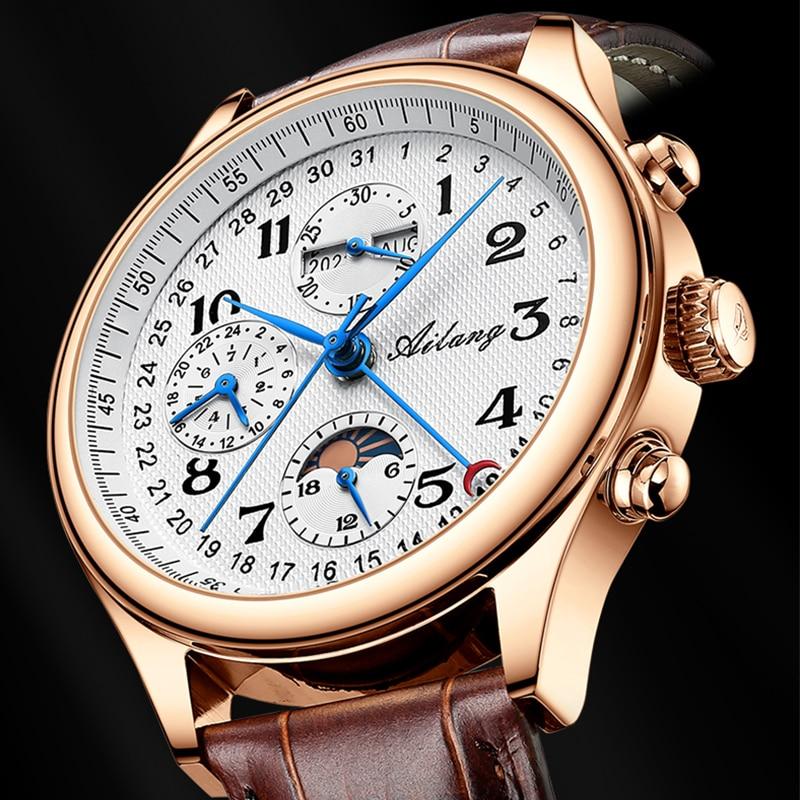 2021 حقيقية Ailang جديد ساعة رجالي الميكانيكية الذكور و مقاوم للماء ساعة رجالي أوتوماتيكية مع حزام من الجلد والتقويم