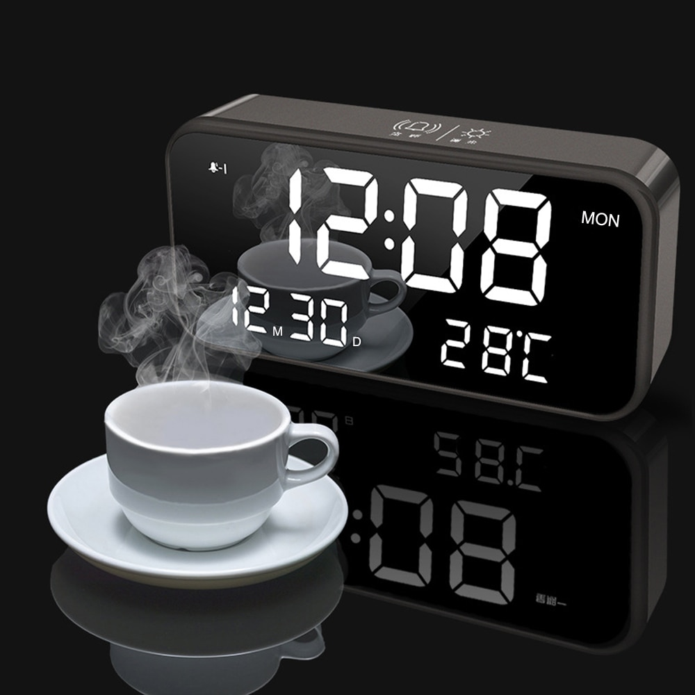 Bedroom Rechargeable Big Digital Mirror Led Music Alarm Clock with Snooze,Calendar,Temperature Thermometer,Sound Control Light