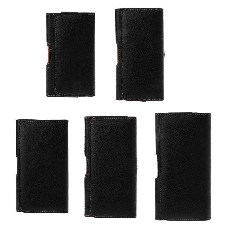 Universal, funda para cinturón de cuero negro para hombre, funda para teléfono, bolsa de cintura Horizontal para iPhone, Samsung, Huawei, Xiaomi, acceso para teléfono móvil