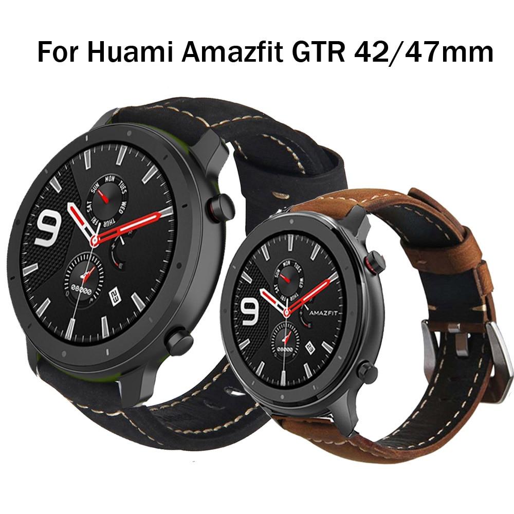 Correa de cuero genuino para Huami Amazfit GTR de 47mm y 42mm, repuesto de correa de muñeca para huawei GT2 de 42 a 46mm, correa para reloj