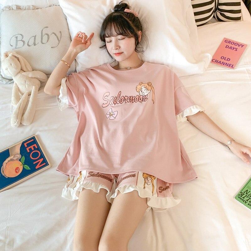 Moda Harajuku japonesa Anime mujeres pijama marinero camisas lunares y pantalones cortos traje Homewear chicas Kawaii dibujos animados Piama Mujer