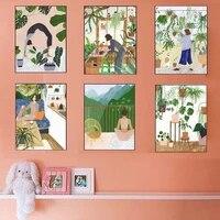 Affiche nordique mode fille plante feuille illustration toile dart mural peinture et impression  decoration de la maison salon
