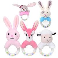 Милые детские игрушки-погремушки, плюшевый кролик, игрушки для кровати для новорожденных 0-24 месяцев, развивающая игрушка, кролик, медведь, к...