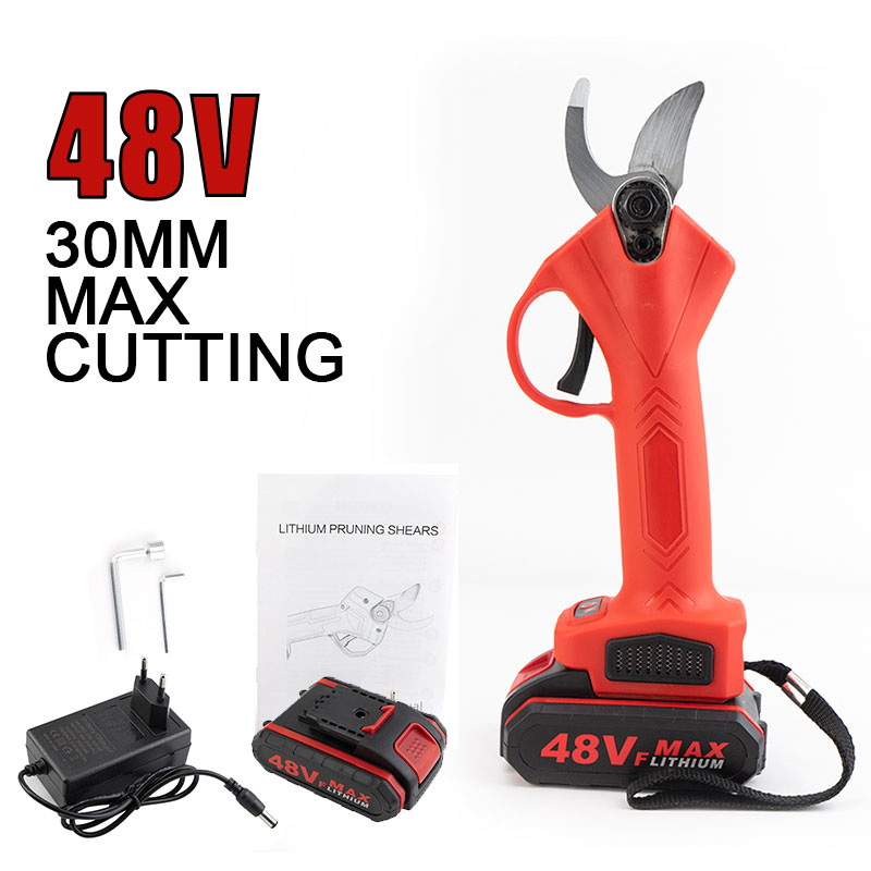 48VF Cordless Pruner Electric Pruning Shear with Lithium-ion Battery Efficient Fruit Tree Bonsai Pruning Branches Cutter