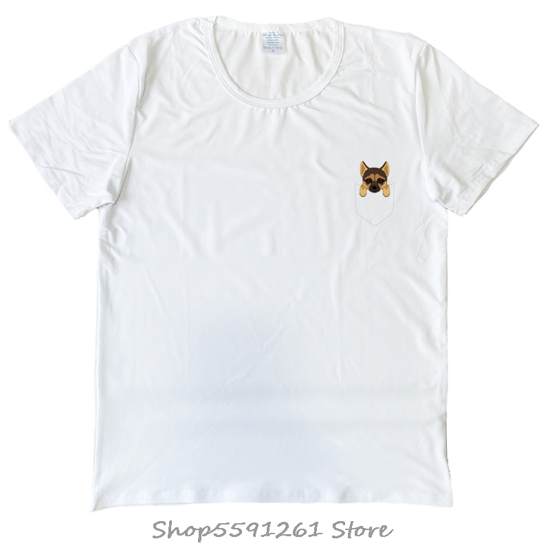 Camiseta de pastor alemán con bolsillo para amantes de los perros, camiseta de modal blanca para hombre hecha en EE. UU., camiseta de dibujos animados Unisex, nueva camiseta de moda para hombre