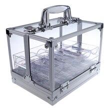 600 pièces Portable Poker jetons Case acrylique valise Transparent boîte de rangement avec 6 plateaux acrylique boîtes à monnaie Casino jeu aborde