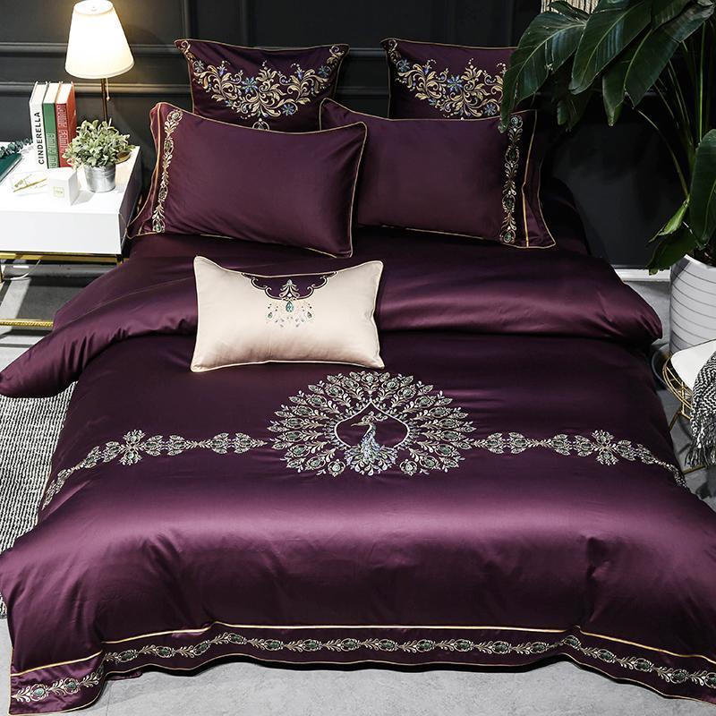 J2 J/7 Uds ropa de cama de satén de algodón egipcio púrpura juego de cama tamaño king queen sábanas de lino Europa bordado juego de funda de edredón