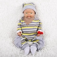 18 inch reborn boy doll realistic green eyes reborn baby with clothes hat socks can take pacifier