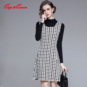 Qiqi&queen Autumn 2 Pieces Knitting Dress Fashion Vintage New Arrival Houndstooth Elegant Women Dresses France Office Vestidos