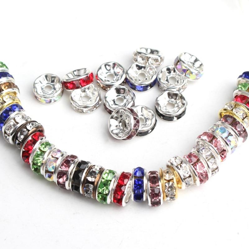 100pcs 4/6/8mm Ouro/Rosa de Ouro/Preto/Prata Cor Cristal Rhinestone Beads rodada Rondelle Spacer Beads Para Fazer Jóias DIY