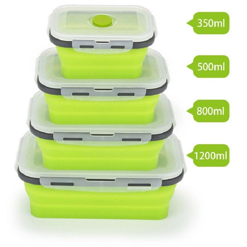 4 unids/set fiambrera plegable de silicona contenedor de almacenamiento de alimentos microlavable portátil Picnic Camping caja rectangular al aire libre