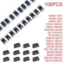 100 PIÈCES M7 M4 M1 RS1M RS2M US1M ES1D ES1J SMA Schottky Redresseur Diodes SS10 SS12 SS14 SS16 SS24 SS34 SS36 SS210 SS310 DO-214AC