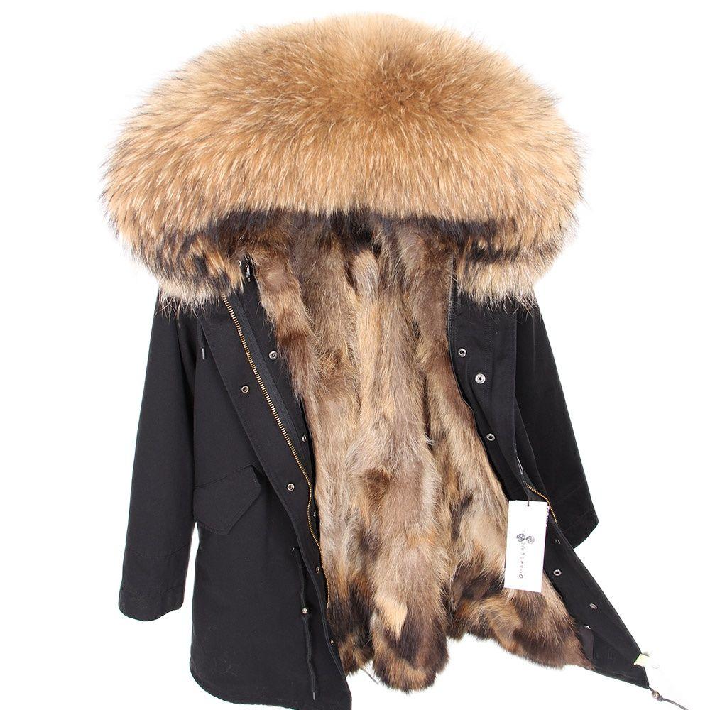Natural Fur Lining Parka Coat Real Fur Coat Winter Jacket Women Natural Raccoon Fur Collar Warm Thick Parkas aorice b1810106 women s winter warm real wool fur jacket hood collar leisure girl coat lady jacket over size parka