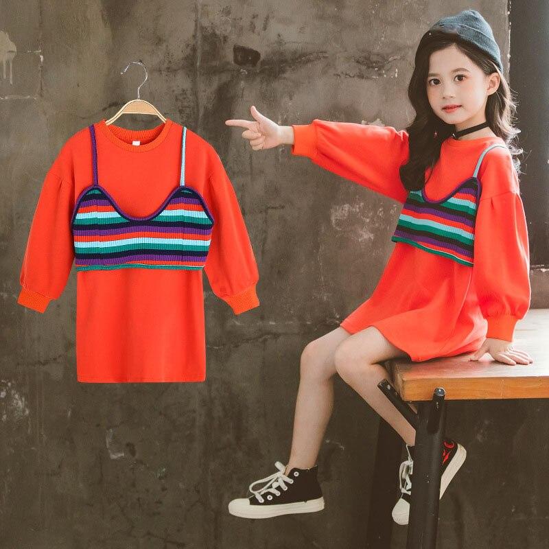 Vestidos con capucha para niñas de manga larga para niños otoño primavera negro naranja vestido para niña grande con chaleco Arco Iris niños ropa