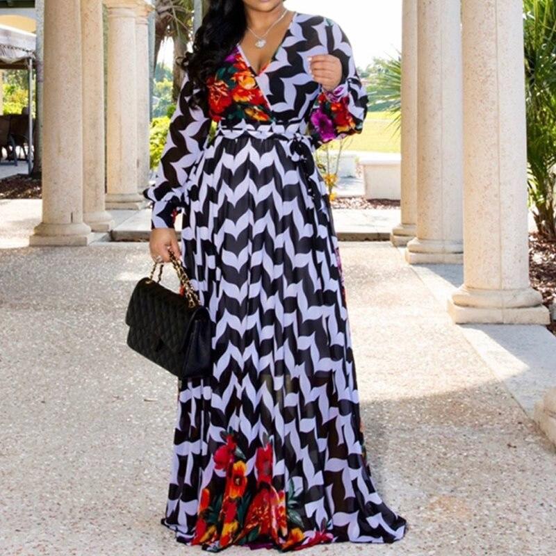 Fashion 2020 Stripe Floral Print Long Sleeve Chiffon Dress Women African V Neck Ladies Casual Boho Maxi Summer Long Dress