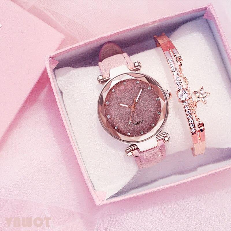 Casual Women Romantic Starry Sky Wrist Watch bracelet Leather Rhinestone Designer Ladies Clock Simpl