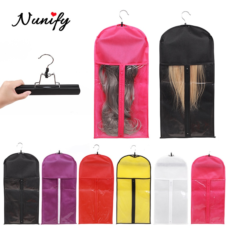 Nunify Hair Extension Storage Bag With Wooden Hanger Pink White Purple Hair Bags Top Wig Packaging Bags For Hair Bundles