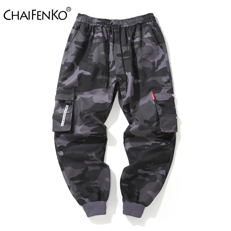 CHAIFENKO Brand Mens Joggers Pants Camouflage Cargo Pants Men Hip Hop Skateboard Jogger Fashion Casual Beam Feet Pant Men M-8XL