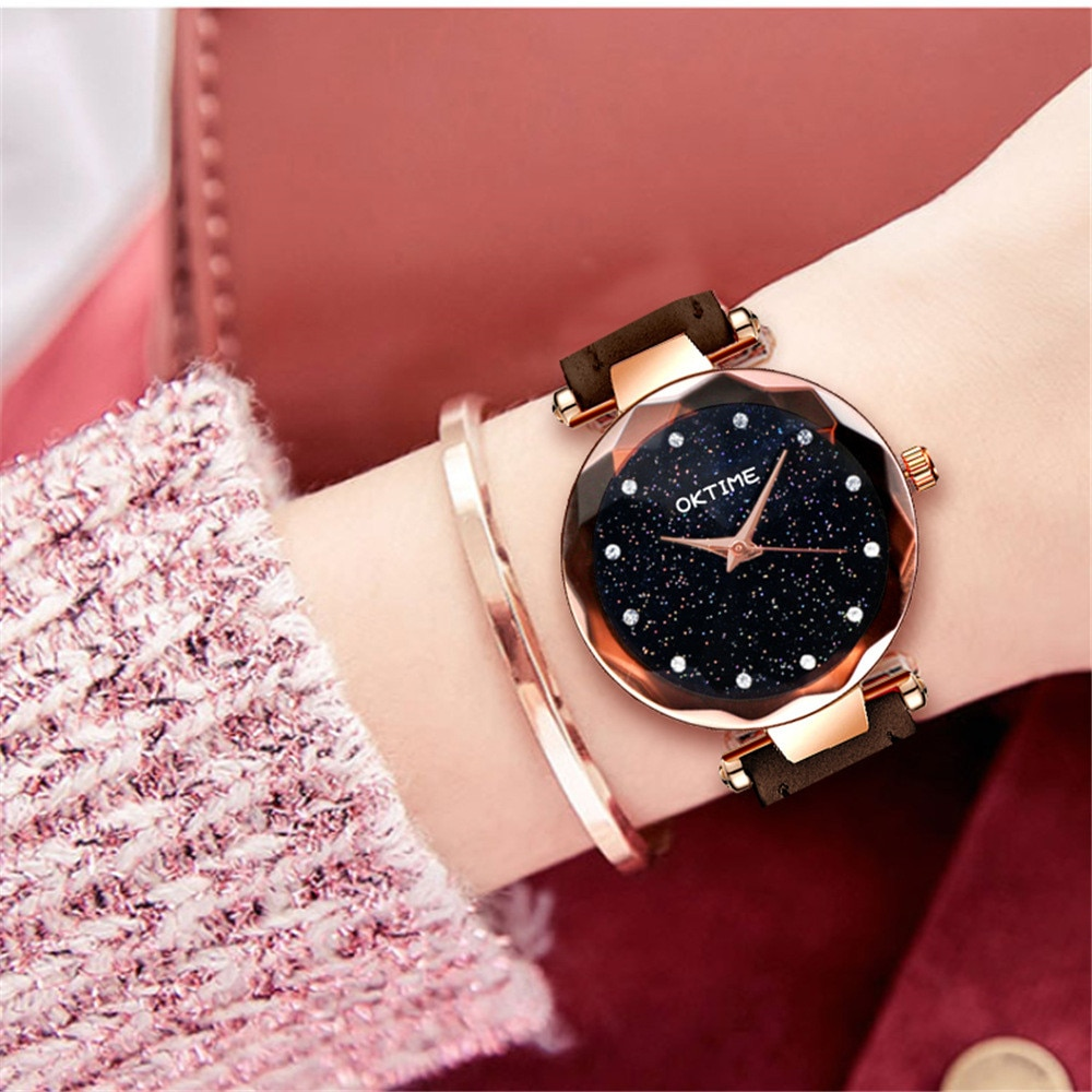 Reloj de pulsera romántico cielo estrellado de cuero banda diamante diseñador de diamantes de imitación reloj de mujer al por mayor marca Zegarki Damskie 533