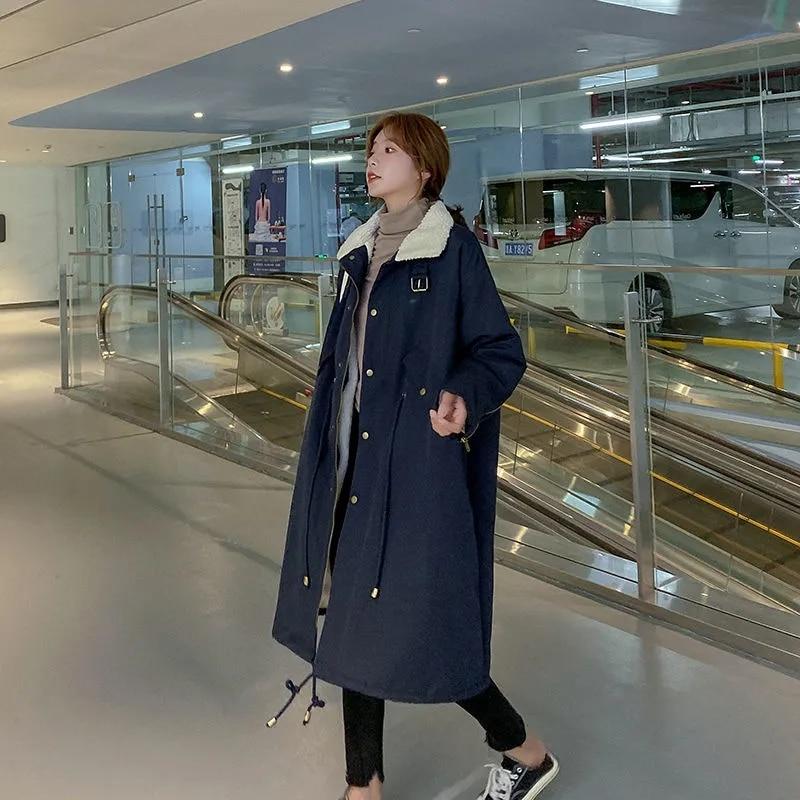 Женская зимняя куртка, утепленная женская хлопковая куртка в новом стиле 2021, женская зимняя свободная хлопковая куртка до колен, однотонная...