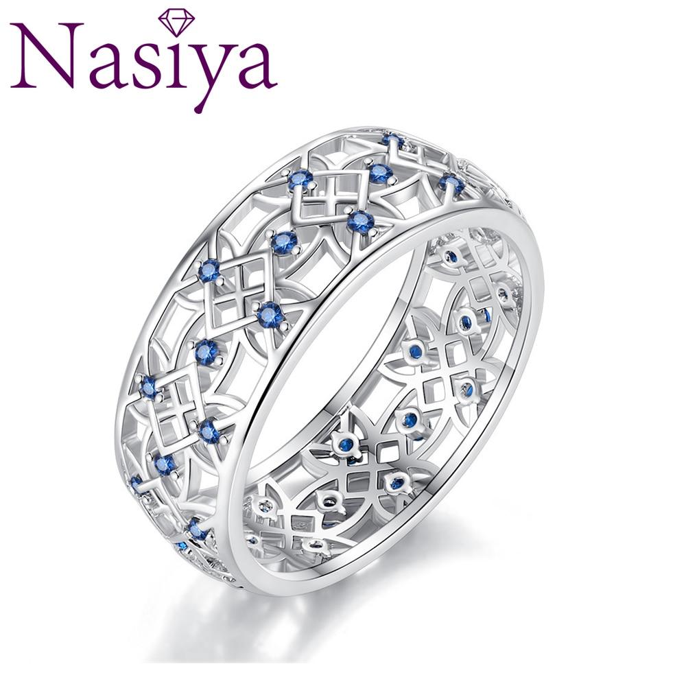 100% Plata de Ley 925 pétalos de amor trébol dulce azul CZ anillos de dedo para mujeres compromiso joyería S925 regalo