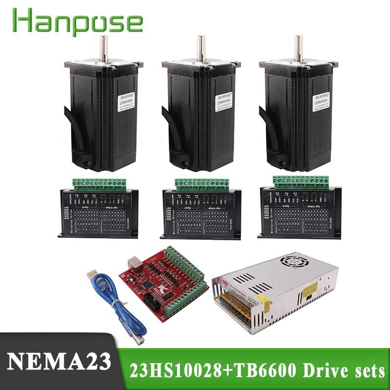 محرك متدرج TB6600 Nema 23 ، مجموعة 3 محاور cnc 23HS10028, TB6600 + 350 واط 36 فولت ، مصدر طاقة + USB mach