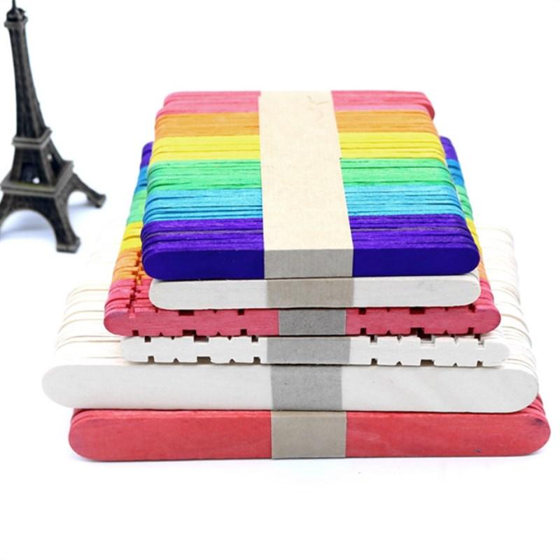 50 peças cor de madeira picolé varas de sorvete de madeira varas diy manual artesanato arte sorvete lolly cake arte ferramentas brinquedos para crianças