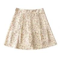 summer woman chiffon high waist floral skirts cottagecore a line print mini skirt sweet casual ruffles new japanese streetwear
