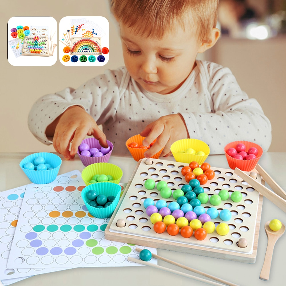 Kids Montessori Wooden Toys Hands Brain Training Clip Beads Puzzle Board Math Game Baby Early Educational Toys for Children topological game tower of hanoi iq intelligence developer 3d puzzle natural wood math game montessori montessori toys children s toys educational toys children toys montessori toys for children fidget toys