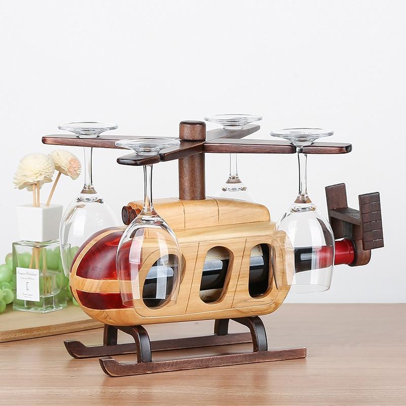 رف نبيذ خشبي الإبداعية مع نموذج طائرة معلقة كأس للنبيذ حامل بار حامل عرض موقف ديكور رف نبيذ خشبي النبيذ الزجاج