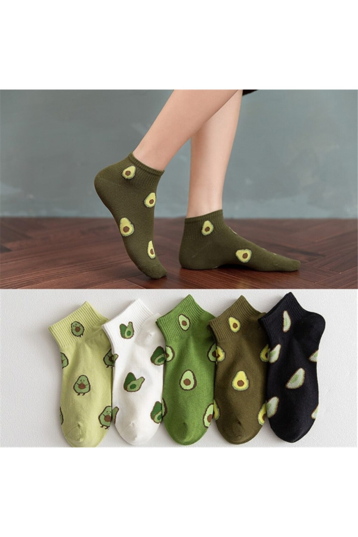 2021 New Fashion 5 Pairs Half Toe Avocado Patterned Socks Comfortable Aesthetic Patterned Cotton New Style Soft Breathable