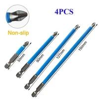 4pcs non slip 14 hex shank magnetic ph2 long electric screwdriver bits exactness single cross head power tool