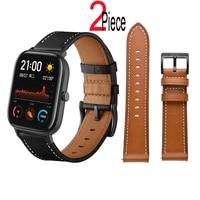 leather band for xiaomi amazfit gts 2 mini 2e bip s u pro gtr 2 47mm42mm stratos 3 pace bracelet strap smart watch wristband