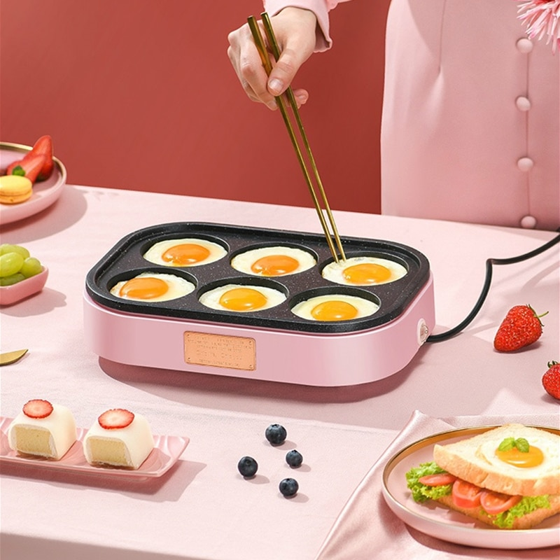 Electric Fried Eggs Roasted Hamburger Machine Non-stick Frying Pan Breakfast Red Beans Cake Maker Pie Pancake Baking Omelette electric crepe maker 600w non stick pizza pancake machine griddle baking pan cake machine kitchen appliances