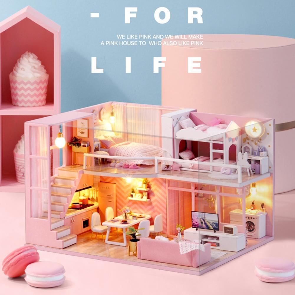 Casa de muñecas de madera para niños, Casa de muñecas en miniatura,...