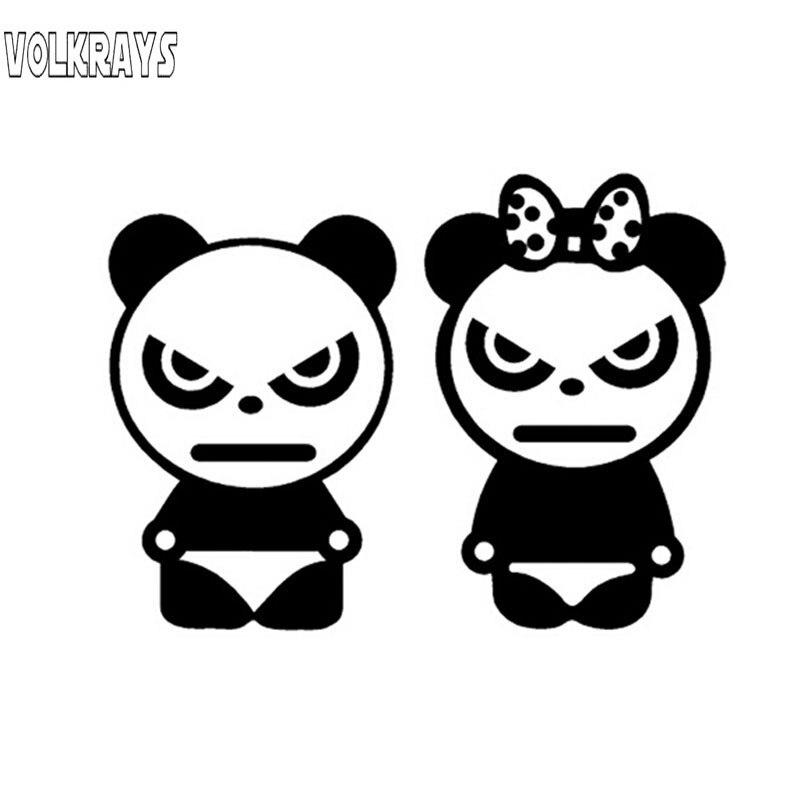 Volkrays, adhesivo creativo para coche, oso enojado, oso Panda, dibujos animados, Animal, Panda, accesorios, pegatina de vinilo reflectante impermeable, 9cm * 12cm