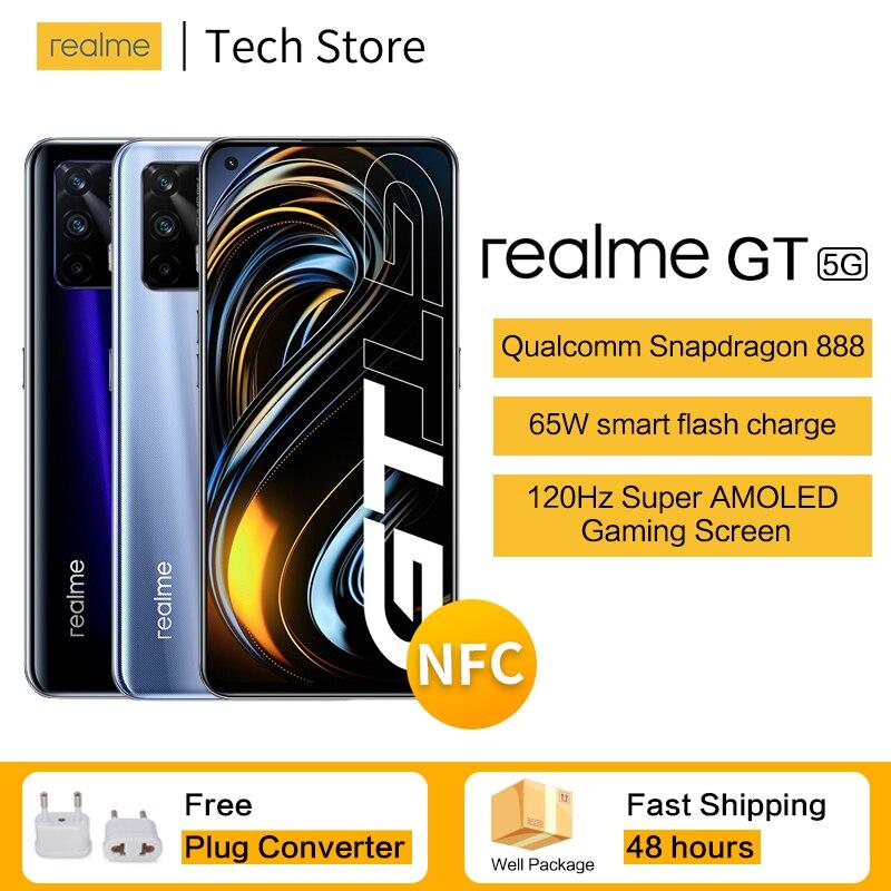 Новое поступление, смартфон 5G realme GT с процессором Snapdragon 888, экран 120 Гц, частота обновления, 65 Вт, смарт-вспышка, 6,43 дюйма, телефон Super AMOLED