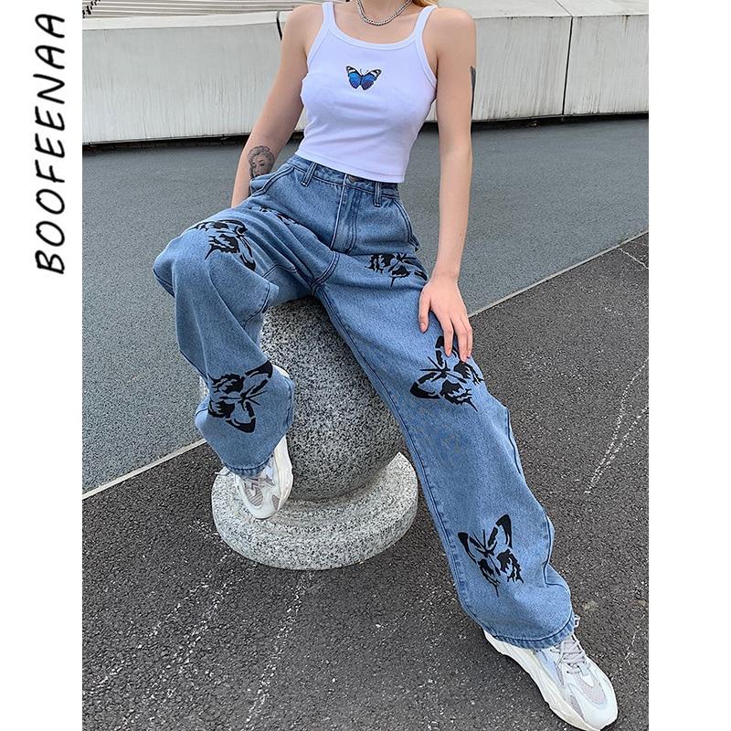 Boofeenaa borboleta impressão de cintura alta namorado jeans mulher moda 2020 casual azul denim calças perna larga streetwear C67-BC54