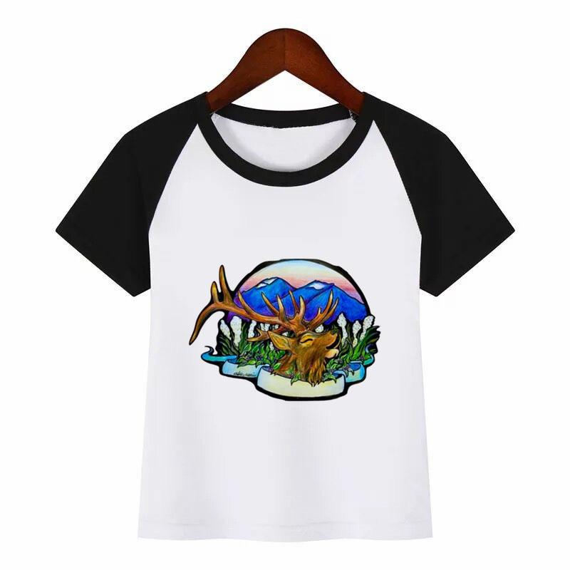 t shirt diy elk Diy Print T Shirt Funny Clothes Children Summer T-shirt Kids Fashion Clothing T Shirt Children Cartoon T-shirt