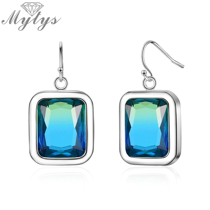 Mytys cuadrado gradiente piedra azul de vidrio gota pendientes para mujer marca joyería de moda CE577