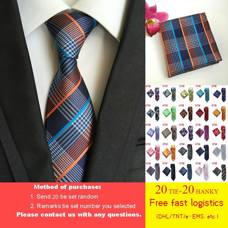بالجملة DHL/TNT شحن مجاني 20 قطعة/الوحدة 125 أنماط التعادل مجموعة 8 سنتيمتر مان التعادل جيب مربع مجموعة 100% الحرير الأعمال ربطة العنق ربطة عنق