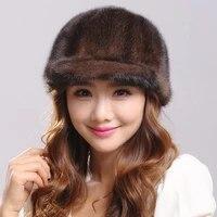 russian winter cap womens natural mink large fox pompom ladies fashion streetwear hat warm fur czapka zimowa my820