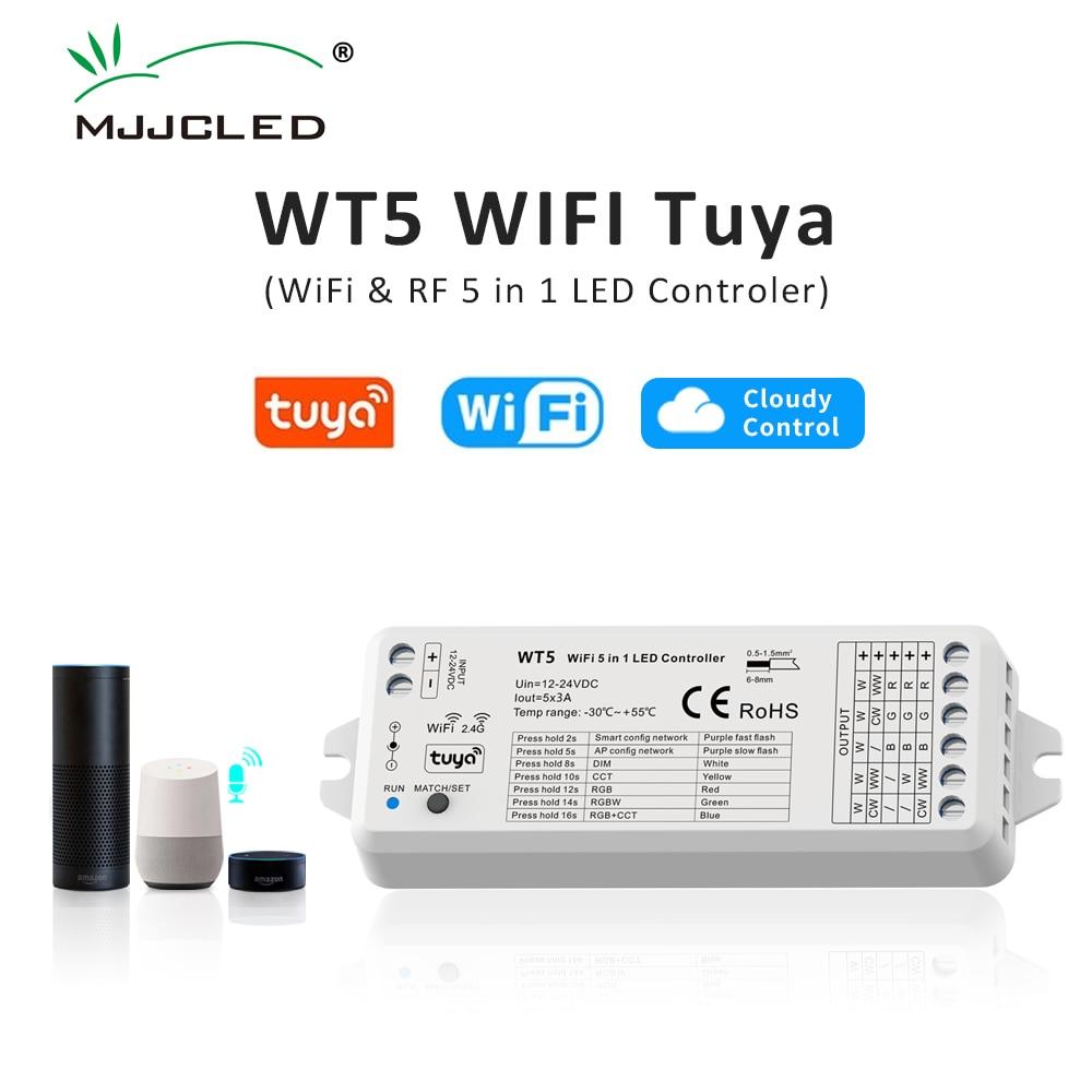 جهاز تحكم عن بعد لاسلكي 5 في 1 مع Tuya LED ، باهتة ، شريط CCT RGB RGBW RGBWW RGBCCT ، Wifi 2.4G RF ، 12V 24V WT5