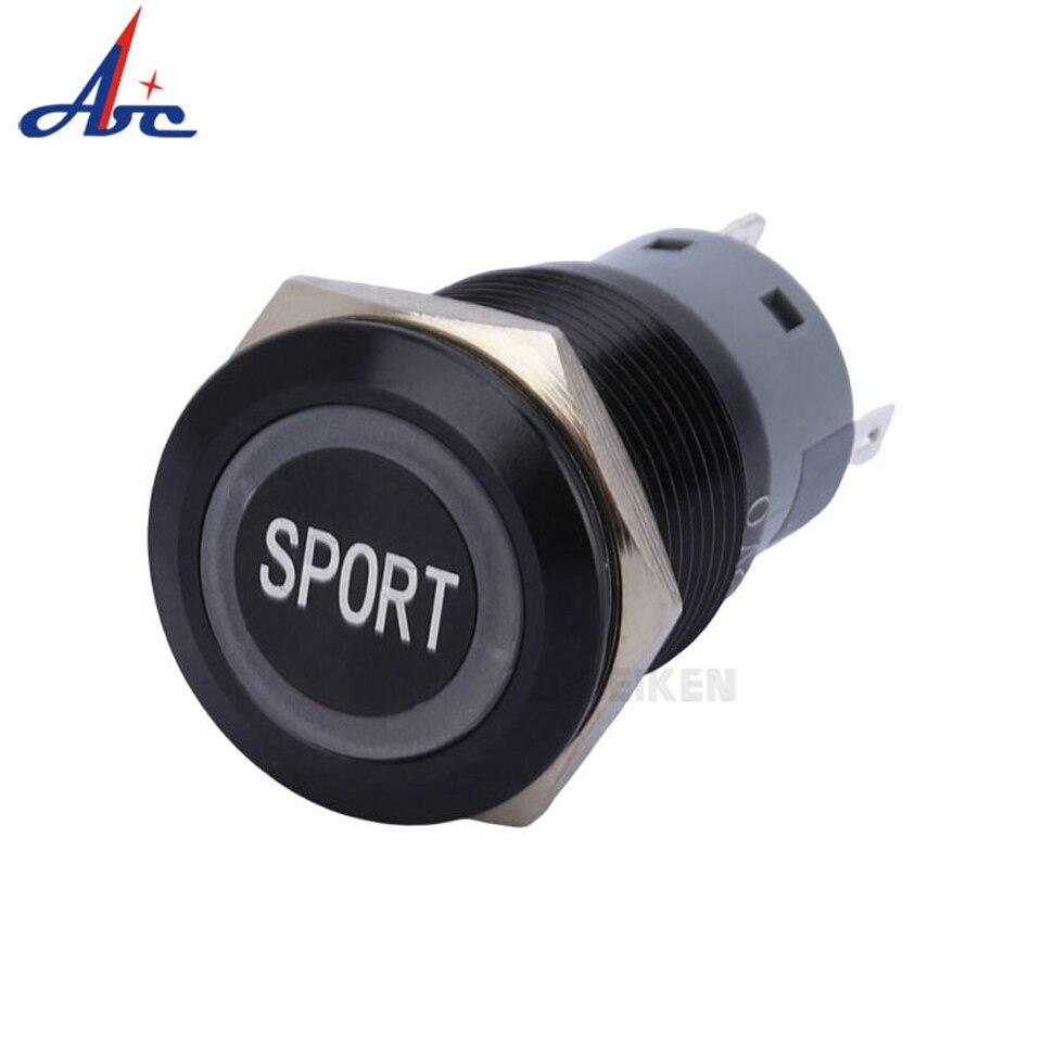 Interruptor eléctrico negro deportivo 19mm interruptor LED a prueba de agua Metal botón interruptor