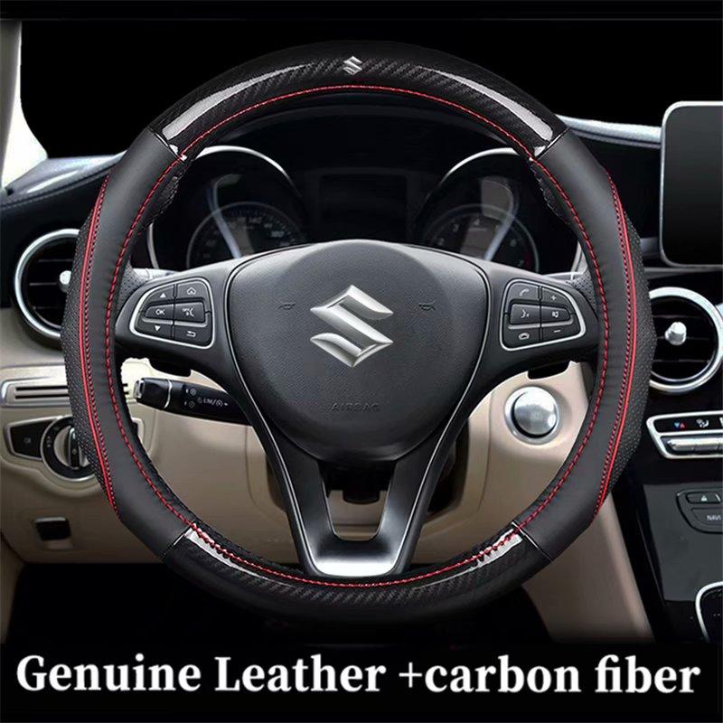 Fundas de volante de carbono de cuero genuino para Suzuki Alivio Ciaz kizkashi SX4 s-cross GRAND VITARA BALENO LIANA IGNIS