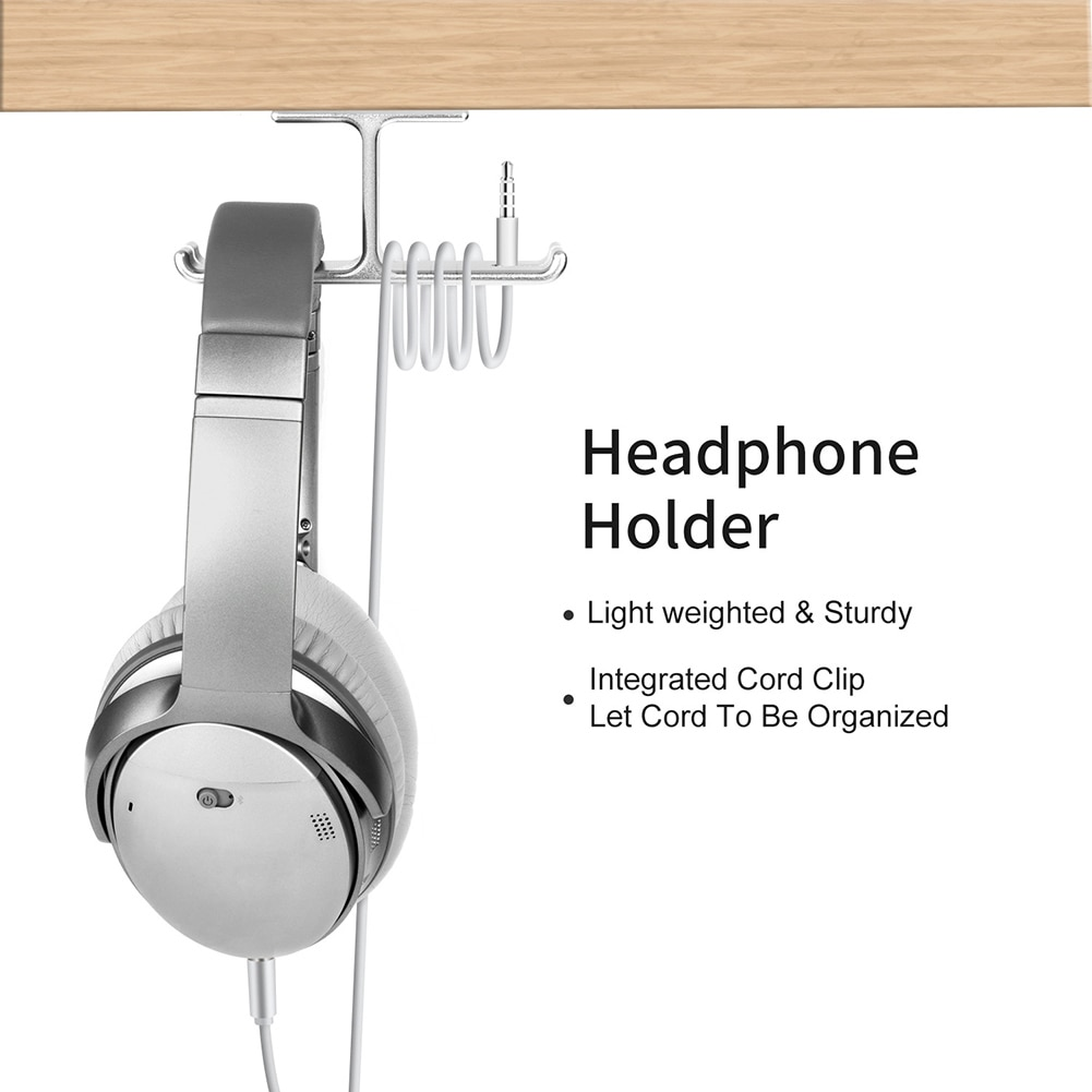 Desk Multifunction Headphone Holder Headset Hanger Office Head-mounted Stand Portable Storage Cable Organizer Double Hook Design enlarge