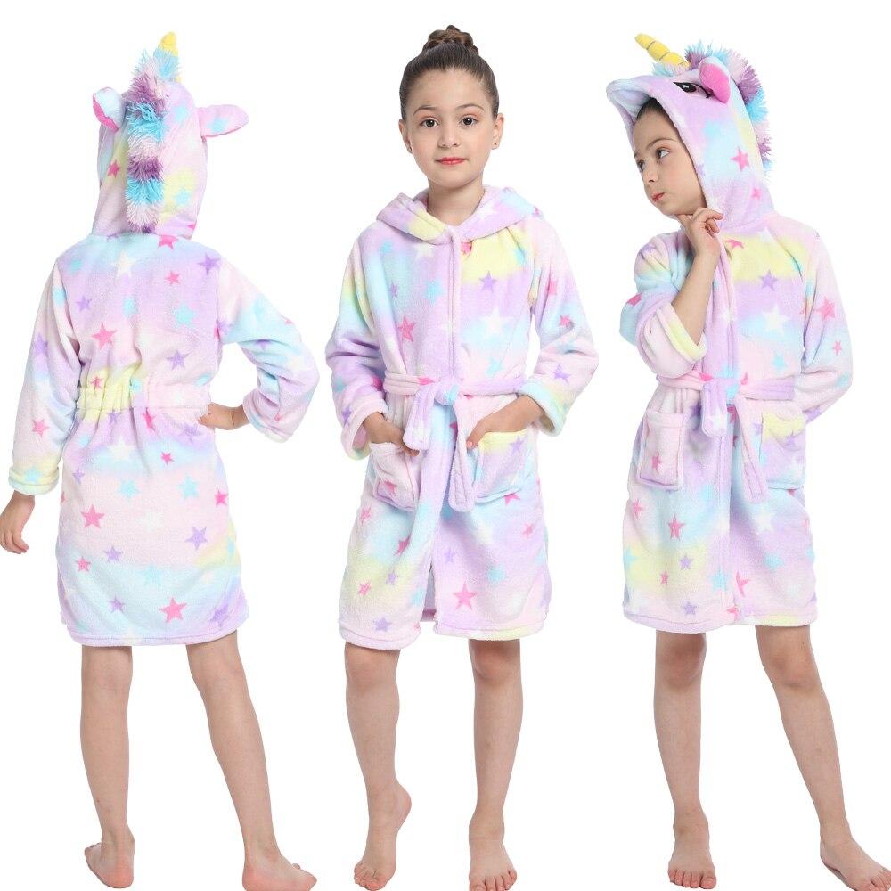 Unicorn Bathrobe for Children Pyjamas Kids Home Pajamas Nightgown Children's Bathrobes Homewear Girls Sleepwear Kigurumi Robe
